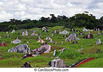 Chinese Cemetary - Chinese tombstones on cemetary on Borneo...