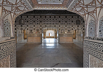 Interior of Amber Fort - Interior of Amber fort palace,...