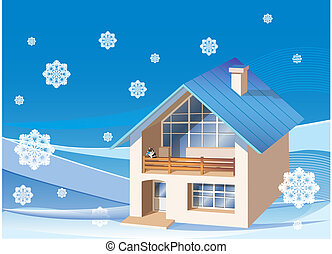 three dimensions family  house on the winter background