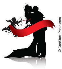 Romantic couple and cupid - Silhouettes of couple and cupid...