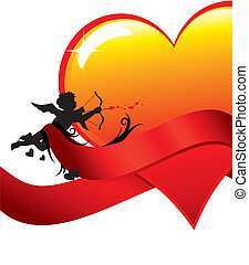 Valentine background with cupid and