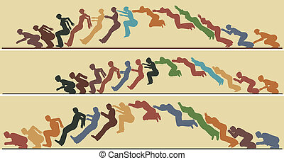 Animated jump - Editable vector silhouette sequences of a...