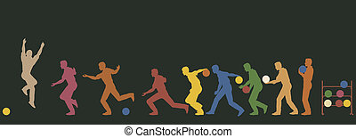 Bowler - Colorful editable vector silhouette sequence of a...