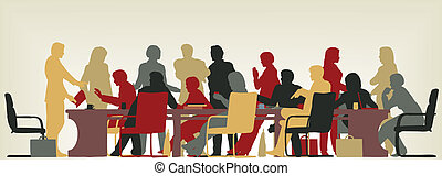 Busy meeting - Colorful editable vector foreground...