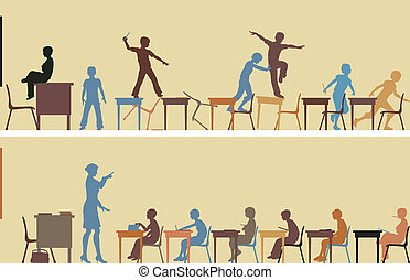 Classroom - Editable vector silhouettes of two colorful...