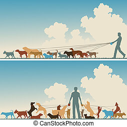 Dog walker - Two colorful foreground silhouettes of a man...