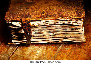 Old book - Old shabby book in leather cover