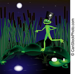 frog serenade - moonlit night on the shore of the pond...