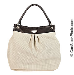 handbag - Female leather handbag on a white background