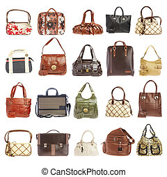20 handbags - Ladies' handbag on a white background