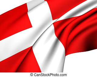 Flag of Denmark against white background Close up