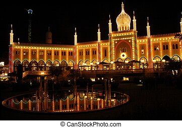 Tivoli Gardens in Copenhagen - Tivoli Gardens at night
