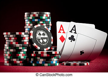 chips and two aces - Stack of chips and two aces