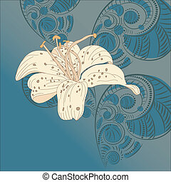 vector lily on floral background