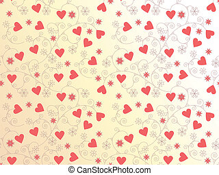 vector seamless background with hearts and floral ornament...