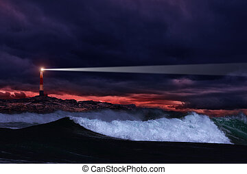 Night lighthouse - Lighthouse on the rocks in storm ocean