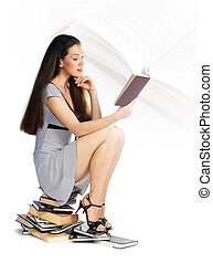 girl reading a book - A girl reading a book on the white...