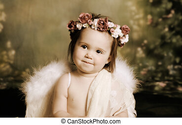 Sweet baby angel - Elegant vintage style portrait of a baby...