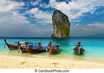 Tropical beach, Thailand - Tropical beach, traditional...