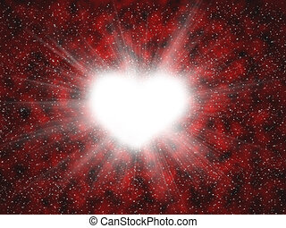 heart with beams - white heart with beams on red background