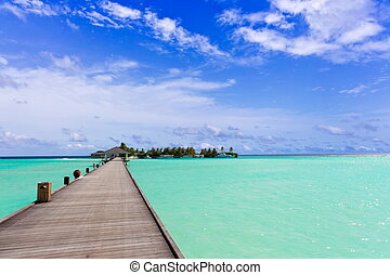 Walkway over tropical sea - Scenic view of pier or walkway...