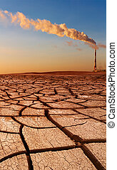 Industrial destruction, global warming concept