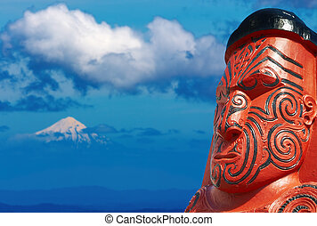 Traditional maori carving, New Zealand - Traditional maori...