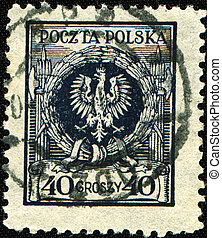 coat of arms of Poland - POLAND - CIRCA 1932: A stamp...