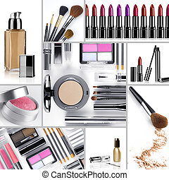 makeup mix - Close up view of cosmetic theme objects on...
