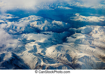 Snowcapped mountains - Aerial view of snowcapped mountains...