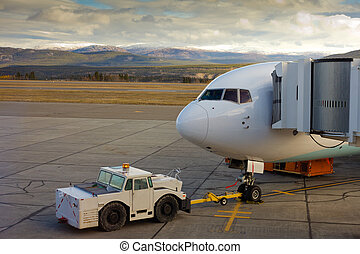 Docked aircraft ready for boarding - Large airliner ready...