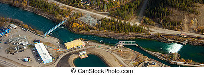 Small scale hydro power plant - Aerial view of the small...