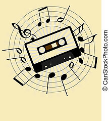 Music Background - Music Staff and Audio Tape on Light...