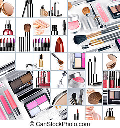 collage make up - Cosmetic theme collage composed of...