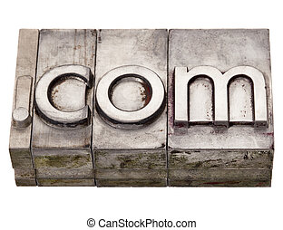 dot com - internet domain in letterpress type - dot com...