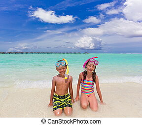 Happy children on beach