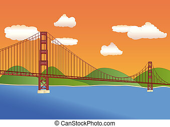 golden gate bridge at sundown - golden gate bridge in San...
