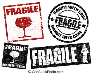 Fragile stamps - Collection of grunge office rubber stamps...