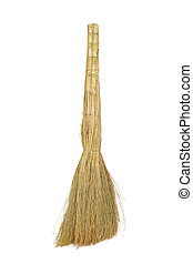 broom - The broom for sweeping dust is isolated on a white...