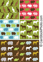 Seamless natural animal pattern, animal texture fabric set