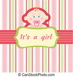 Baby girl on the pink background vector illustration