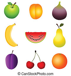 fruits - Set of fruits icons on the white background