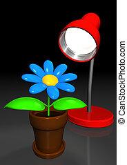 artificial flower enjoying the lamplight office, 3d...