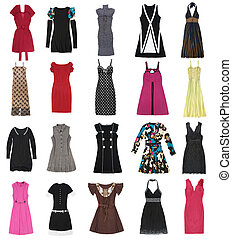 Female dresses. 20 pieces. - Female dresses on a white...