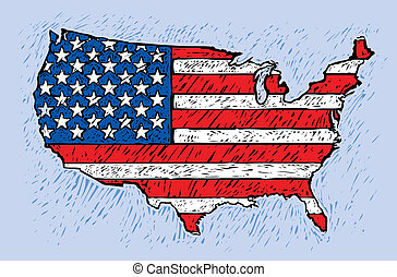 USA engrave style - USA map with the usa flag inside in...