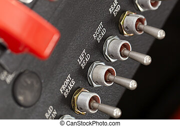 Race Car Dashboard - Toggles and switches on a race car...