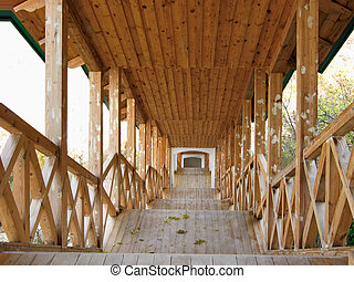 Covered wooden passage from church of prelate St Nicolas to...