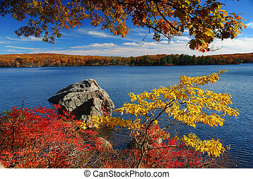 Autumn Mountain with lake view and colorful foliage in...