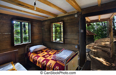 Country House - Interior of a wooden house, country life in...