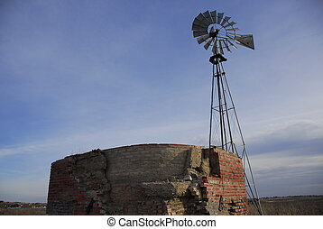 Texas Windmill and Old, Broken Cistern